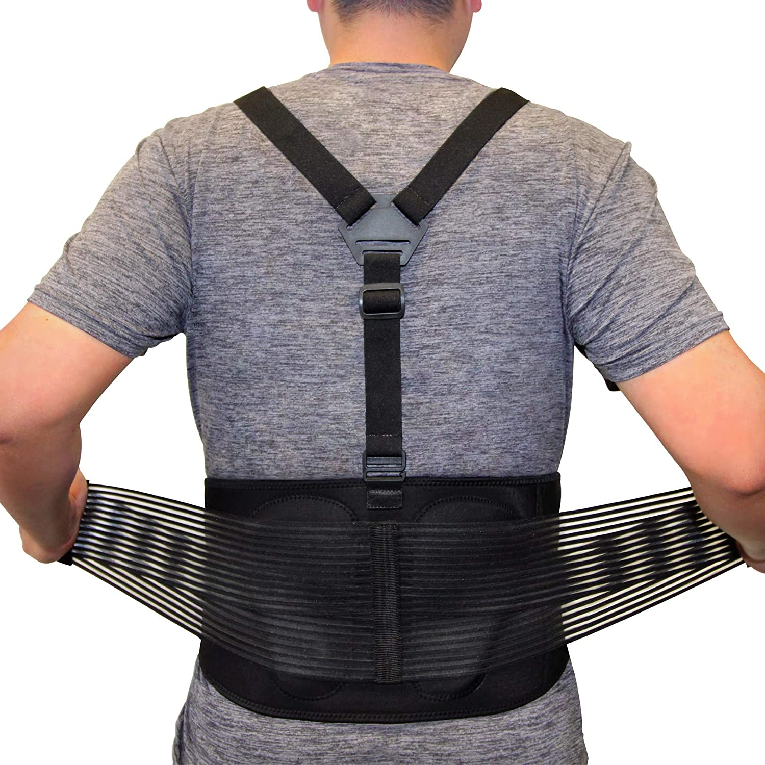 AllyFlex Lumbar Support Back Brace with Suspenders, 3-Way Adjustable Safety Belt with Dual Lumbar Pads for Lower Back Support and Injury Prevention, Medium
