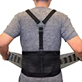 AllyFlex Lumbar Support Back Brace with Suspenders, 3-Way Adjustable Safety Belt with Dual Lumbar Pads for Lower Back Support and Injury Prevention, Large