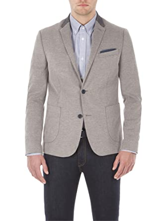7a08660ffe6 Pique Jersey Blazer - MF13042 Slim Fit (Camden Fit) Grey: Amazon.co.uk:  Clothing