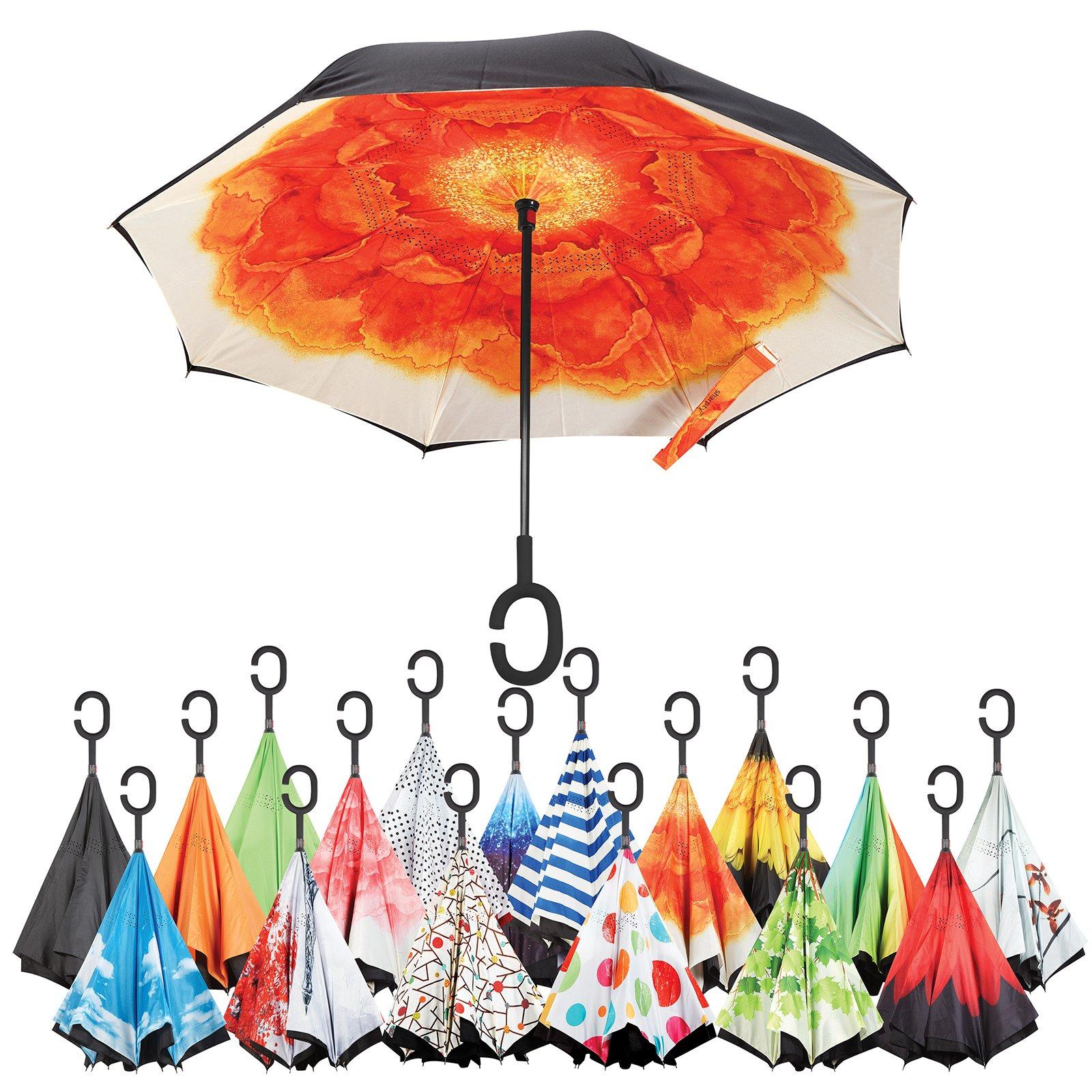 Sharpty Inverted Umbrella, Best Windproof Umbrella, Reverse Umbrella, Umbrella with UV Protection, Upside Down Umbrella with C-Shaped Handle (Orange Flower)