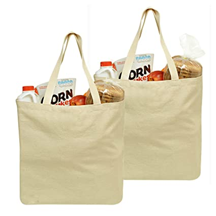 Amazon.com: Reusable Grocery Canvas Bag, 2 PACK, 19