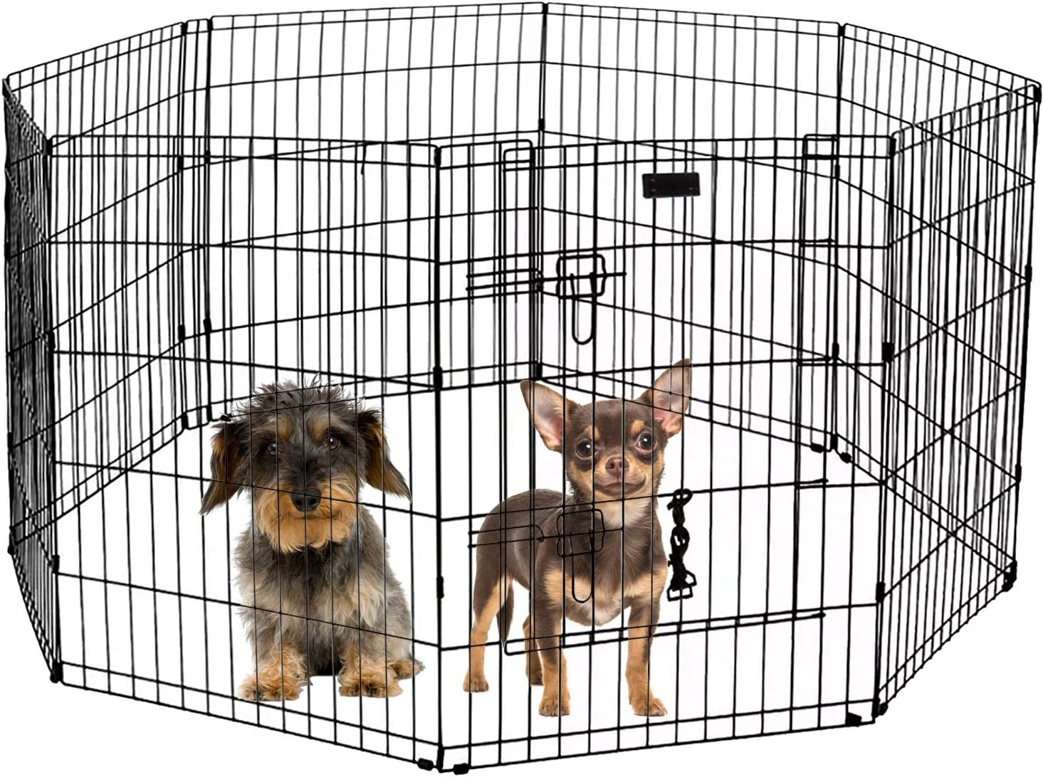 LavoHome Ultimate Folding Dog Animal Pet Playpen Wire Metal 8 Panel Octagon Black Wire Enclosure Fence Exercise Popup Kennel Crate Tent Portable Gate Cage