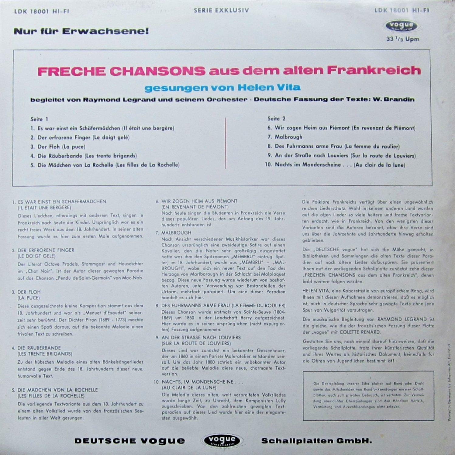 Freche Chansons Aus Dem Alten Frankreich Vinyl Record Vinyl Lp