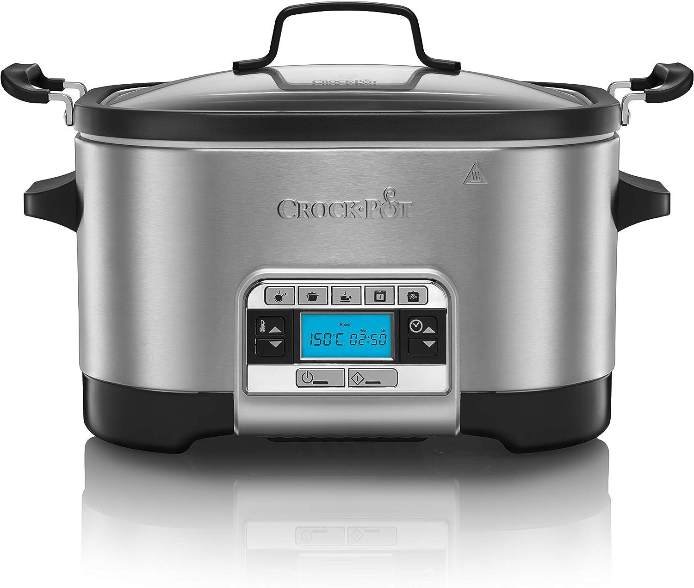 Crock-Pot CSC024 Olla de cocción lenta, 240 W, 5.6 litros, Acero Inoxidable, Gris: Amazon.es: Hogar