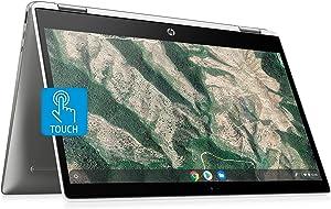 "HP X360 14 Chromebook Laptop Computer 14"" HD SVA Touch Display Intel Pentium Dual-Core N5000 Processor 4GB DDR4 128GB eMMC WiFi Webcam Chrome OS Google Classroom Compatible w/ 32GB SD Card"