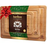 Organic Bamboo Cutting Board with Juice Groove (3-Piece Set) - Best Kitchen Chopping Board for Meat (Butcher Block) Cheese and Vegetables | Anti Microbial Heavy Duty Serving Tray w/Handles