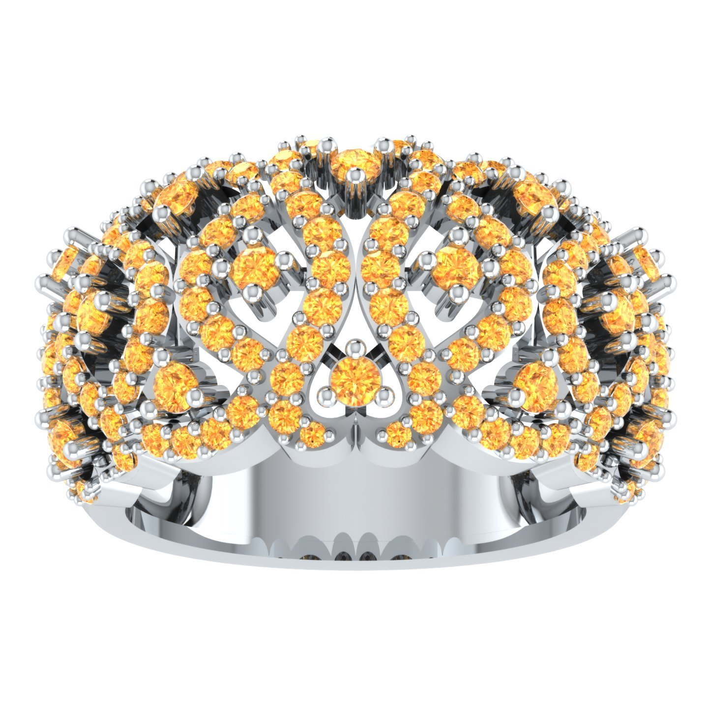 Round Shape 1.5 Ct Cubic Zirconia Filigree Wedding Band Ring In 925 Sterling Silver