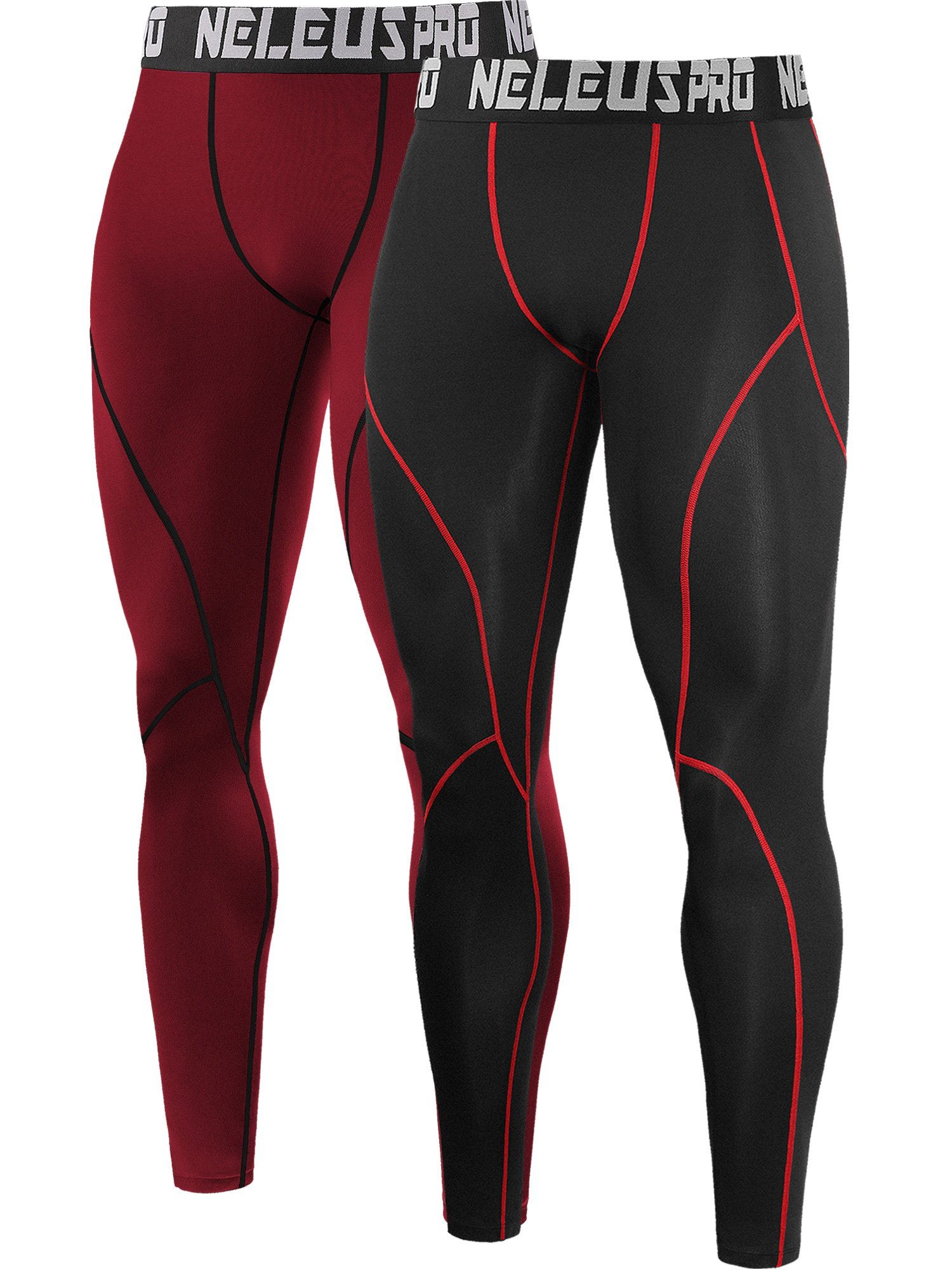 Neleus Men's 2 Pack Compression Pants Workout Running Tights Leggings,6013,Black (Red Stripe),Red,US S,EU M