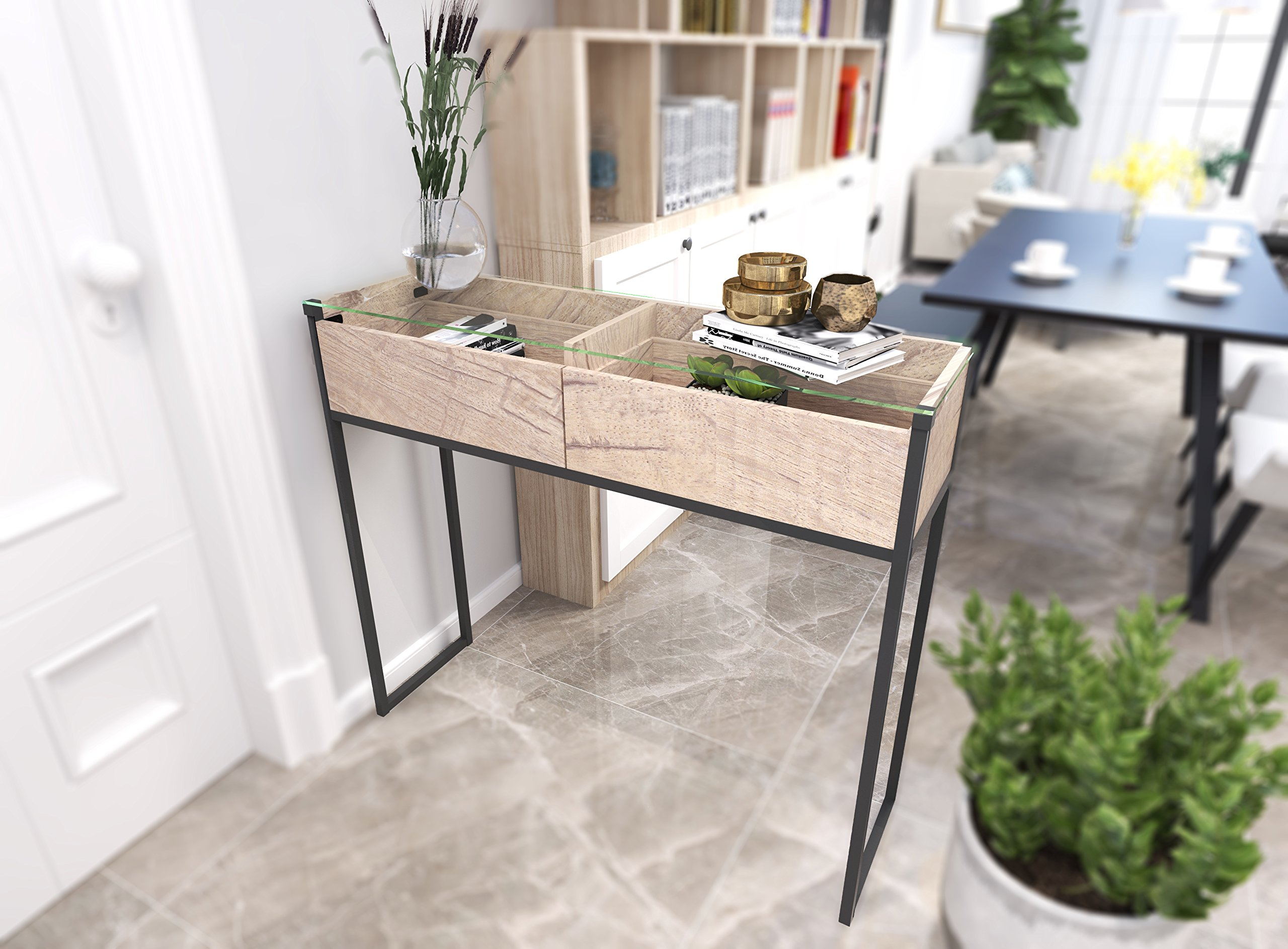 Tilly Lin Clear Glass Top Console Table, Sofa Table with 2 Drawers, Accent Display, Vintage Oak - 5 mm thick tempered glass top,clear tempered glass is strong and durable. Can be used as office workstation, meeting desk, home desk, credenza, TV stand. Put it in the entryway or behind a sofa, and also makes a chic media stand with straight industrial black metal table frame. Two drawers provide ample storage space, handy drawer display all your home essentials and organizes your items with the 2 drawer divider - living-room-furniture, living-room, console-tables - 81Yvvpz6gWL -