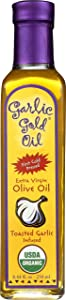 Premium Certified Organic Extra Virgin Olive Oil Infused with Garlic, Low FODMAP, Garlic Gold (8.44 fl oz)