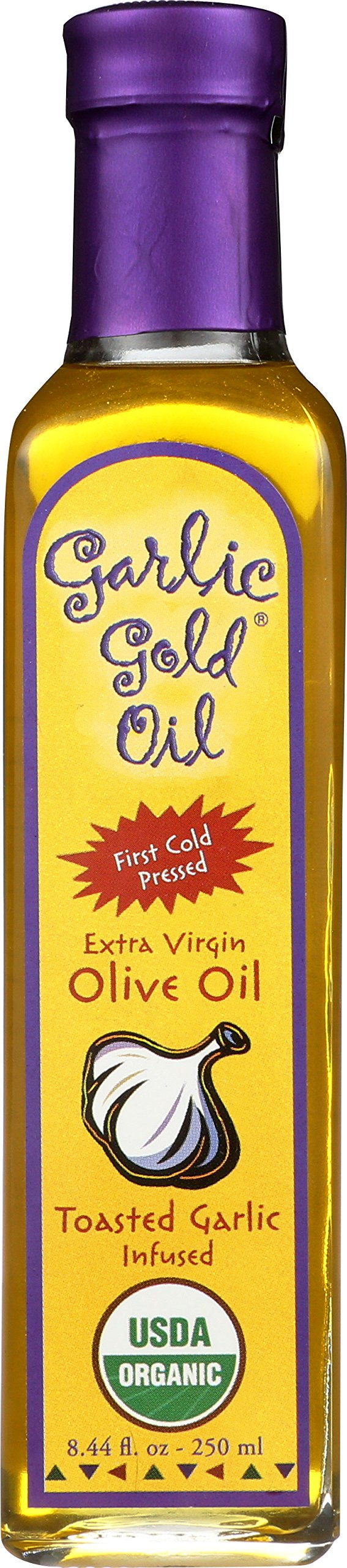USDA Certified Organic Extra Virgin Olive Oil Infused with toasted Garlic, Low FODMAP, Garlic Gold (8.44 fl oz)