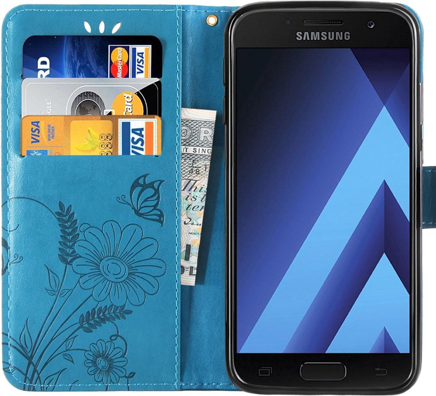 H/ülle f/ür Galaxy A5 2017 H/ülle Leder, Flip Case Lederh/ülle Schutzh/ülle f/ür Samsung Galaxy A5 2017//A520F EYYY010093 Blau Kartenfach /& Standfunktion
