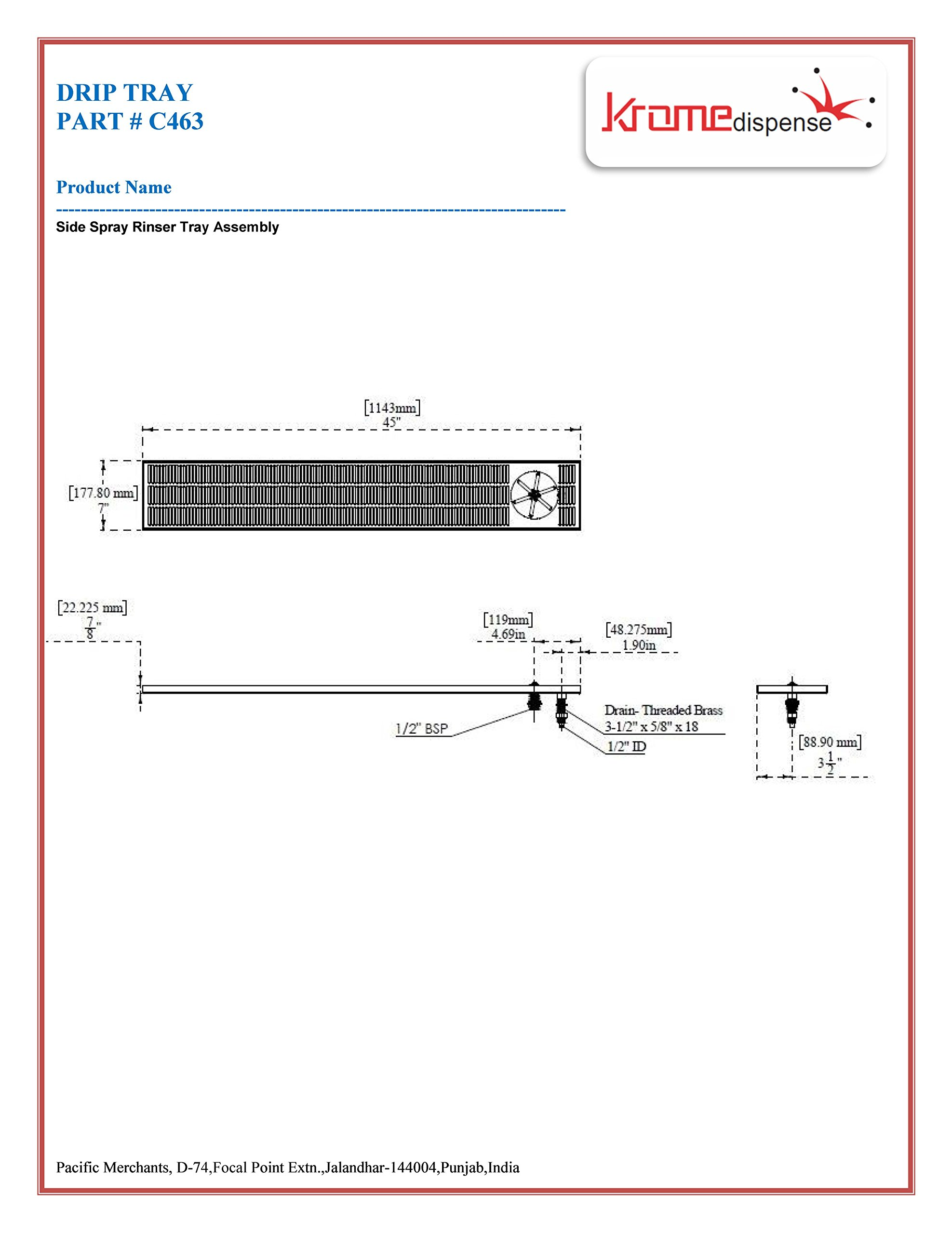C335-36 Flush-Mount Frothing Pitcher Rinser//Glass Rinser; Inner Size 6 x 5.5 x 2.5 Krome Dispense Pack of 36