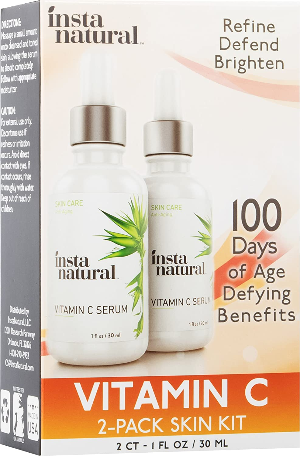 InstaNatural, Vitamin C Serum Skin Kit, 2 Pack, 1 fl. oz (pack of 2) 3 Pack - Andalou Naturals Age Defying Ultra Sheer Daily Defense Facial Lotion SPF 18 2.70 oz