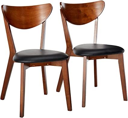 Genial Malone Dining Side Chairs Black And Dark Walnut (Set Of 2)