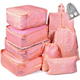 Voniry 8 Set Packing Cubes - Waterproof Mesh Compression Travel Luggage Packing Organizer with Shoes Bag(PinkTwill)
