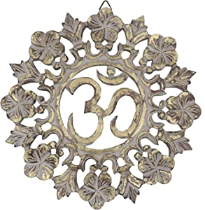 DharmaObjects Handcrafted Wooden Om Wall Decor Hanging Art (OM Gold)