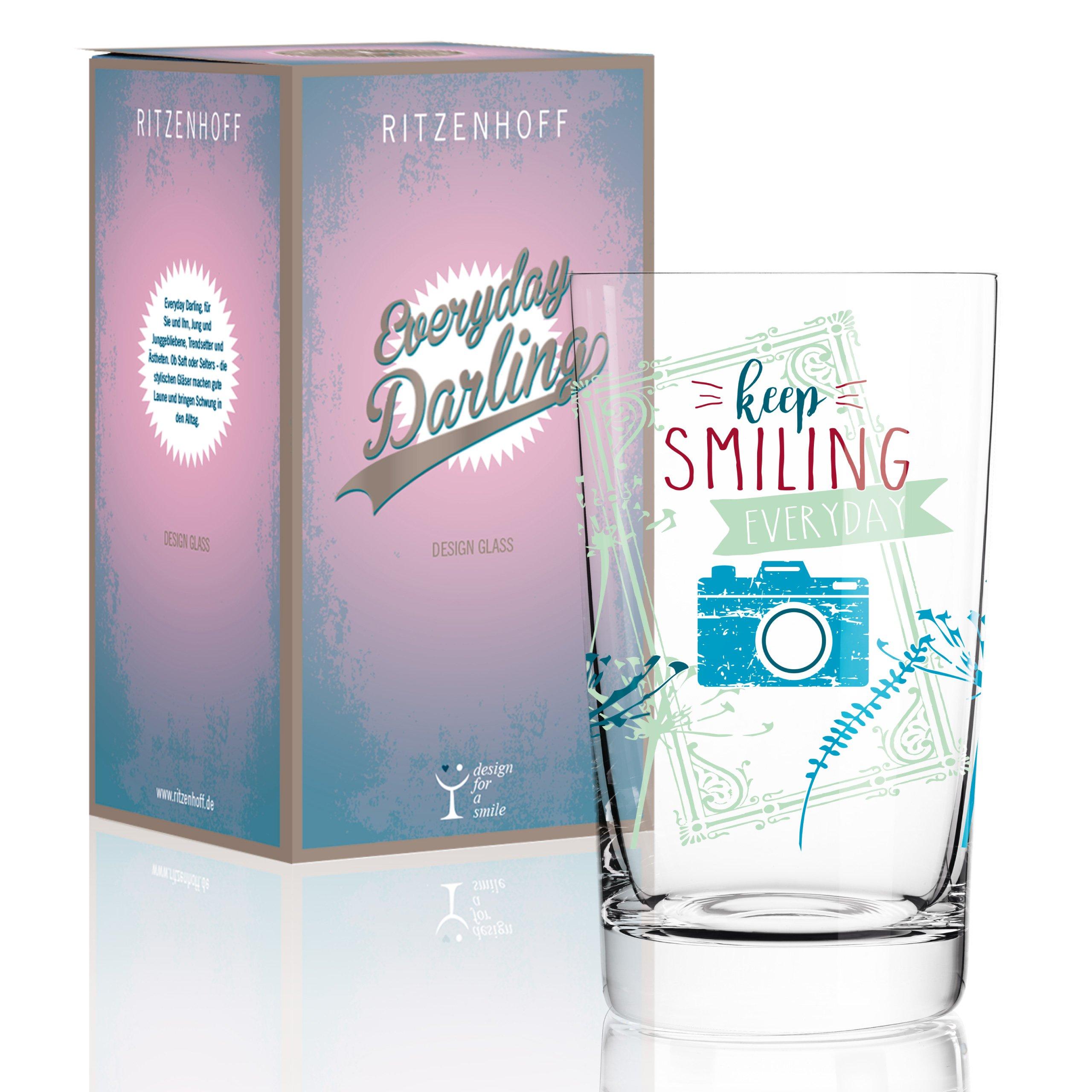 Ritzenhoff Everyday Darling Softdrinkglas, Crystal, grün/rosa/Petrol, 7.3 x 7.3 x 12.7 cm