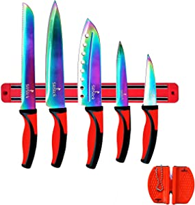 SiliSlick - Rainbow Knife Kitchen Starter Set (5 Professional Grade Rainbow Blade Knives) | Includes Knife Sharpener & Magnetic Wall Hanger | Red Handle with Red Knife Rack | Kitchen Cutlery Kit