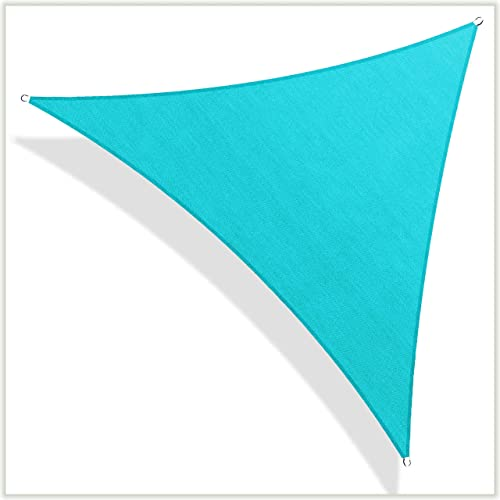 ColourTree CTAPT28 Custom Size Order to Make 32' x 32' x 32' Turquoise Triangle Sun Shade Sail Canopy Mesh Fabric UV Block