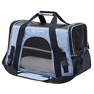 Peteme Airline Approved Pet Carrier, Soft Sided Cat Carrier Dog Carrier for Cats, Small Dogs, Pups, Guinea Pigs and Small Animals