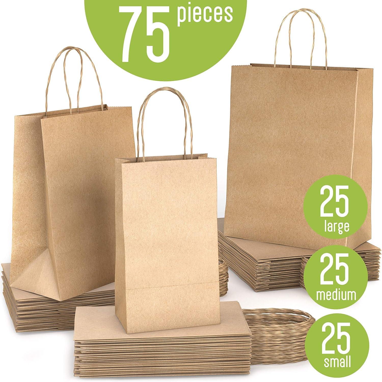 Brown Paper Bags with Handles Bulk, 75 Bags Total