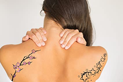 Amazoncom Cherry Blossom And Stars Back Temporary Tattoo 10cm With