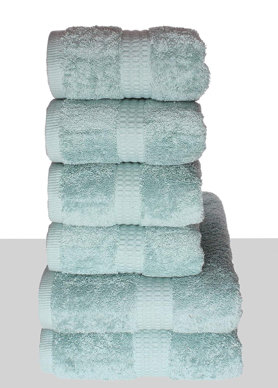 PimpamTex - Juego de Toallas Premium 700 Gramos de Secado Rápido para Baño, 100% Algodón, Pack Toallas de Baño + Toallas de Mano - (Verde, 2 de 70x140 cm + ...