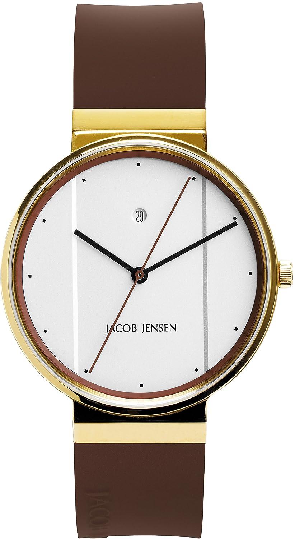 Jacob Jensen Herren-Armbanduhr Analog Quarz Kautschuk 32758