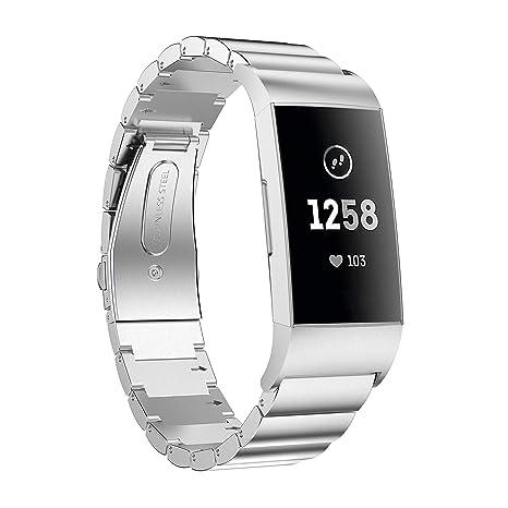 Aimtel compitable Charge 3/SE Correa de Reloj, Acero Inoxidable sólido Metal Repuesto Pulsera de Negocios Compatible Fitbit Charge 3 Smart Watch, ...