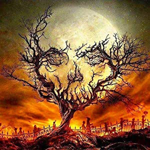 Adarl DIY 5D Diamond Painting by Number Kit for Adult, Full Drill Diamond Embroidery Dotz Kit Home Wall Decor-Sunset and Dead Tree