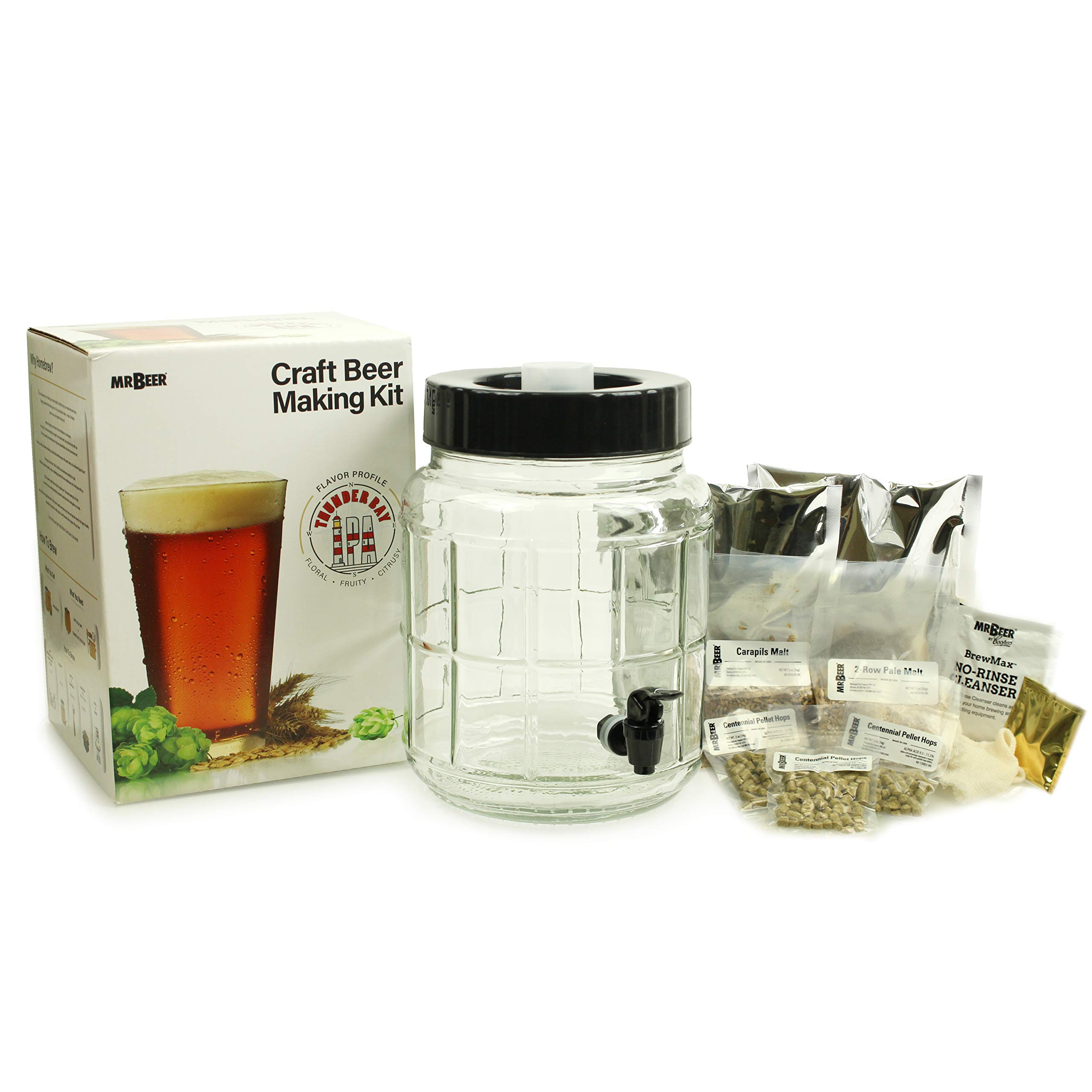 Mr. Beer 40-21012-00 1 Gallon Craft Beer Making Kit with Glass Fermenter and Thunder Bay IPA Specialty Grain Recipe