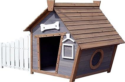 dobar 55016FSCe Outdoor-Hundehütte mit Spitzdach und seitlicher ...