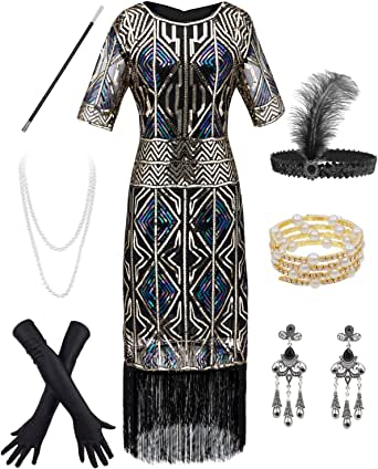 Dancing Stone Women 1920s Sleeve Beaded Fringed Gatsby Flapper Prom Dresses w/Accessories