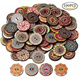 nuosen 100 Pcs Wood Buttons, Mixed 2 Holes Buttons 1 Inch Buttons Vintage Assorted Buttons Decorative Buttons Flower Buttons Round Buttons for DIY Sewing Craft