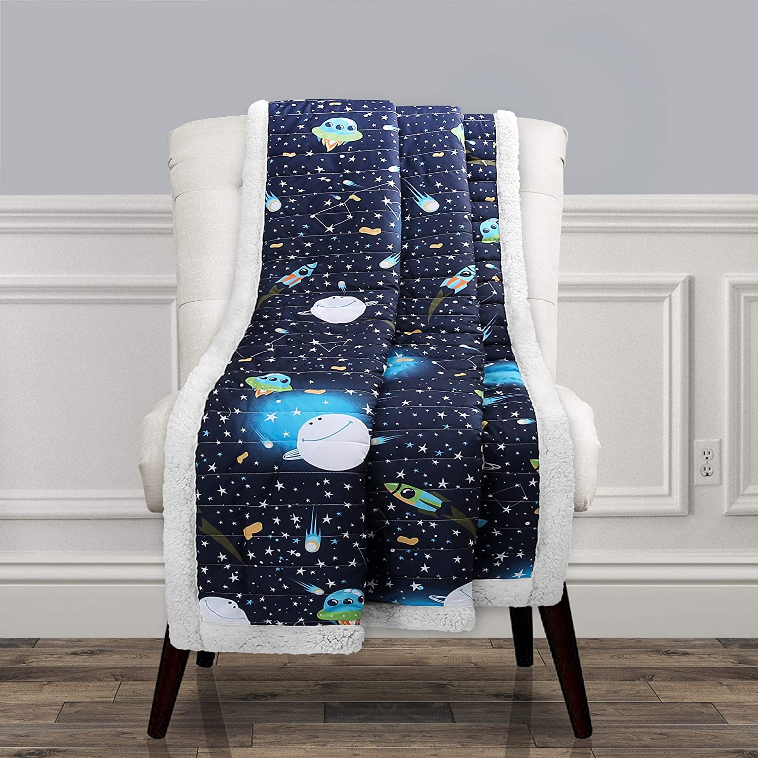 "Lush Decor, Navy Universe Sherpa Throw-Outer Space Stars Galaxy Planet Rocket Pattern Reversible Blanket-60"" x 50, 60"" x 50"""
