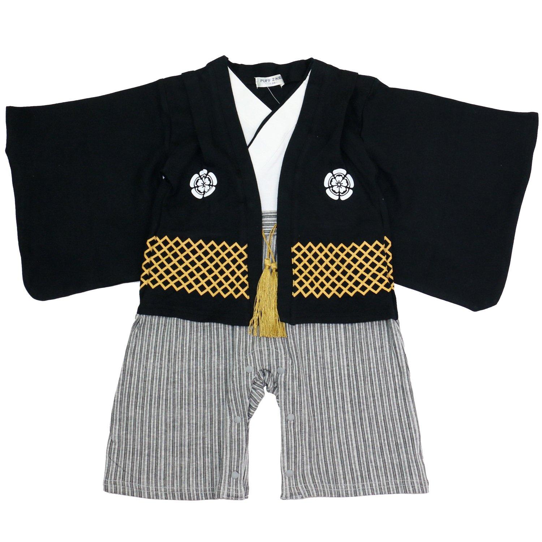 ベビー キッズ 袴風 カバーオール ロンパース 男の子 黒 80cm 10640906BK80
