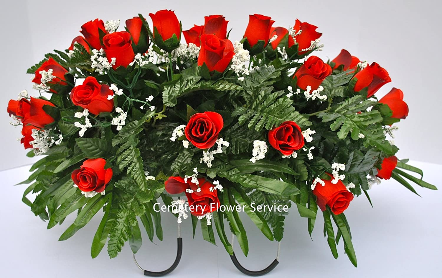 Cemetery Flowers for Grave Decoration with Red Rose Buds and Baby's Breath made into a Saddle Arrangement for Headstones