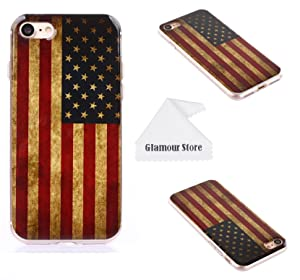 iPhone 7 Case, United States Of America USA Flag Printed Design TPU Case Cover Skin Protective For Apple iPhone 7 4.7 inch With A Free Cleaning Cloth As a Gift