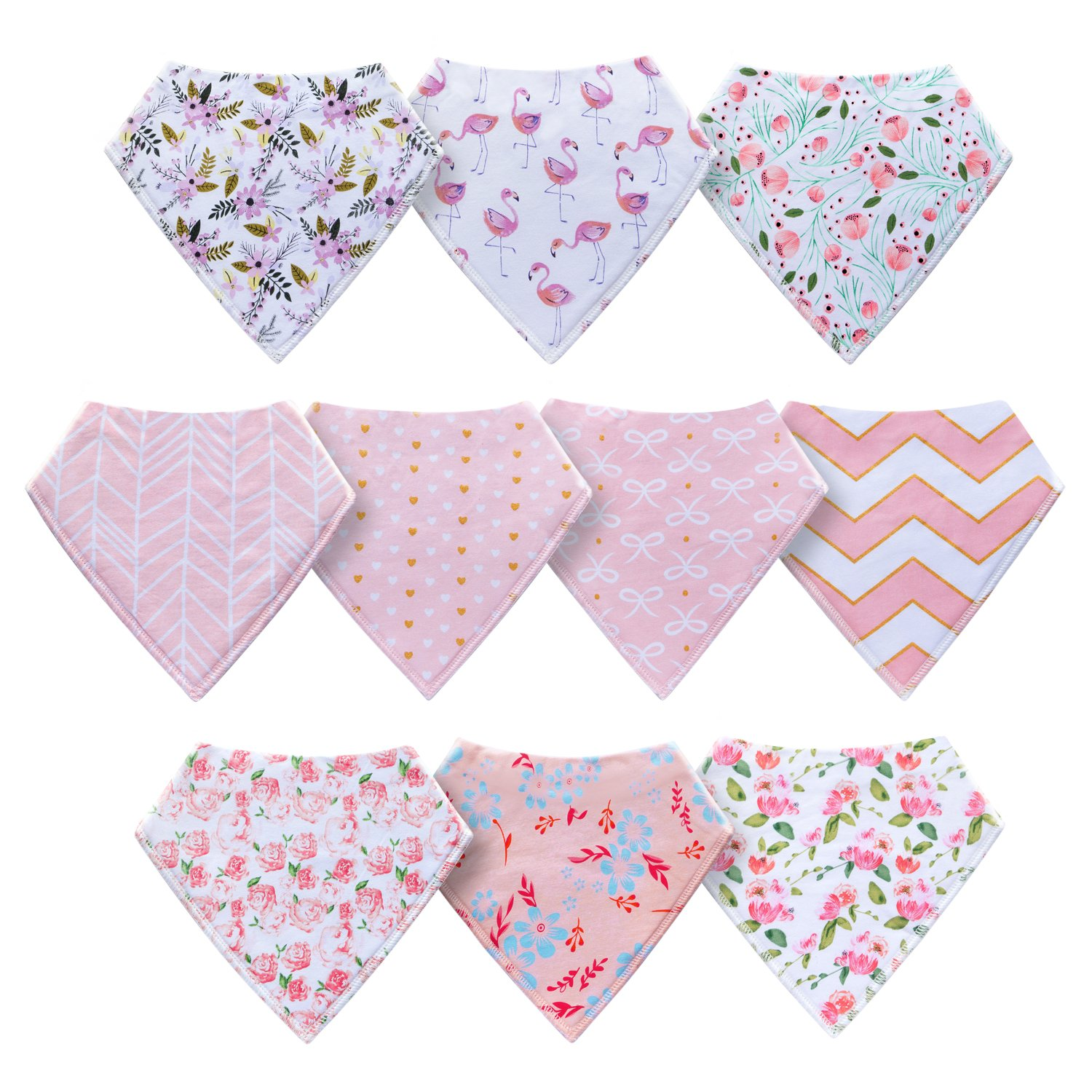 10-Pack Baby Girl Bandana Drool Bibs for Drooling and Teething by MiiYoung by MiiYoung (Image #2)