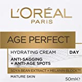 L'Oréal Paris Age Perfect Hydrating Day Moisturiser for Mature Skin Moistuiser, with Soya Bean Extract and Melanin Block, 50ml