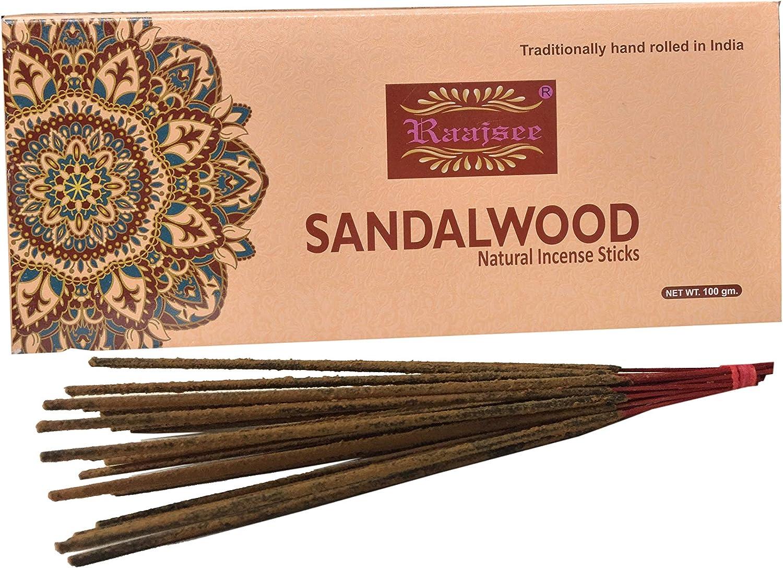 Varillas de incienso naturales de sándalo, 100 g, 100% puro orgánico y natural, enrolladas a mano, sin productos químicos