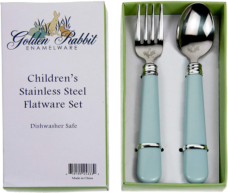 Golden Rabbit Enamelware Baby Toddler Kid Flatware Set Blue