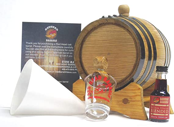 1 Liter Charred Oak Barrel Flavor Kit w/Essence for making your own flavored alcohol (Blended scotch)