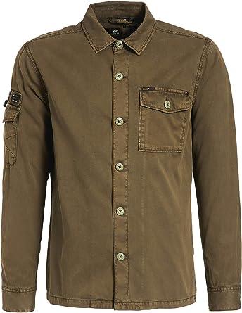 Khujo - Camisa Casual - Liso - Manga Larga - para Hombre Verde Oliva L: Amazon.es: Ropa y accesorios