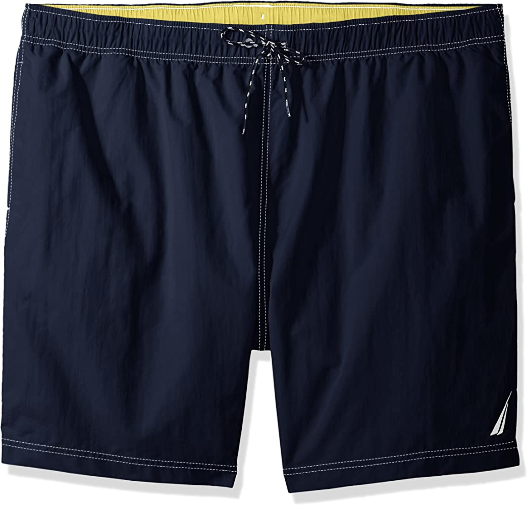 df3913ef12 Nautica Men's Big Solid Quick Dry Classic Logo Swim Trunk, Navy, 2XLT Tall