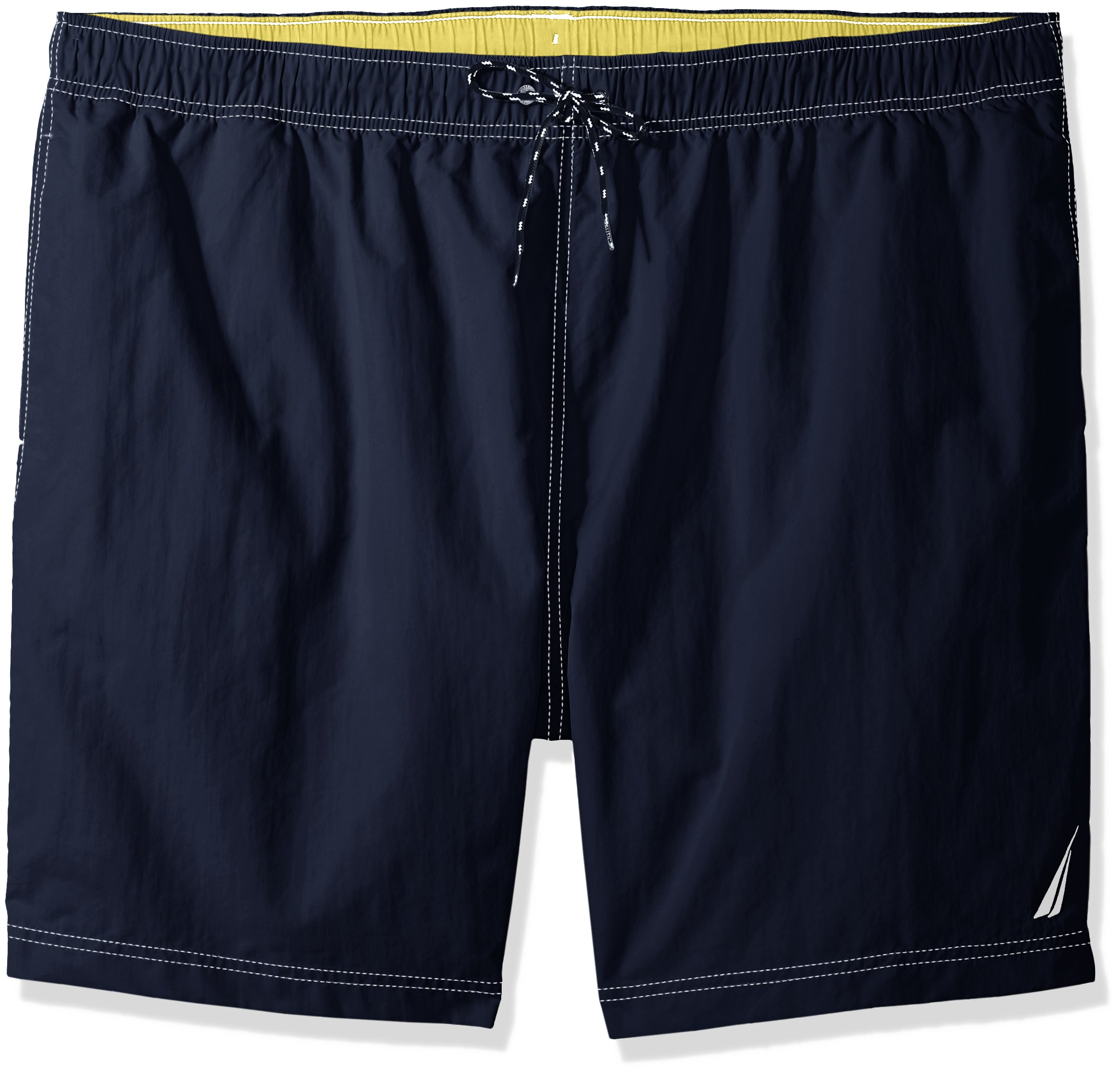 Nautica Men's Tall Solid Quick Dry Classic Logo Swim Trunk, Navy, 5X Big by Nautica