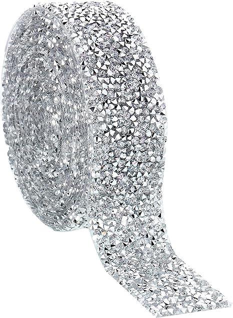 DIY Resin Diamond Clear Crystal Mesh Chain Banding Bling Ribbon Roll Decoration for Wedding Party Floral Arrangements 5 Yard Rhinestone Chain Trim Silver