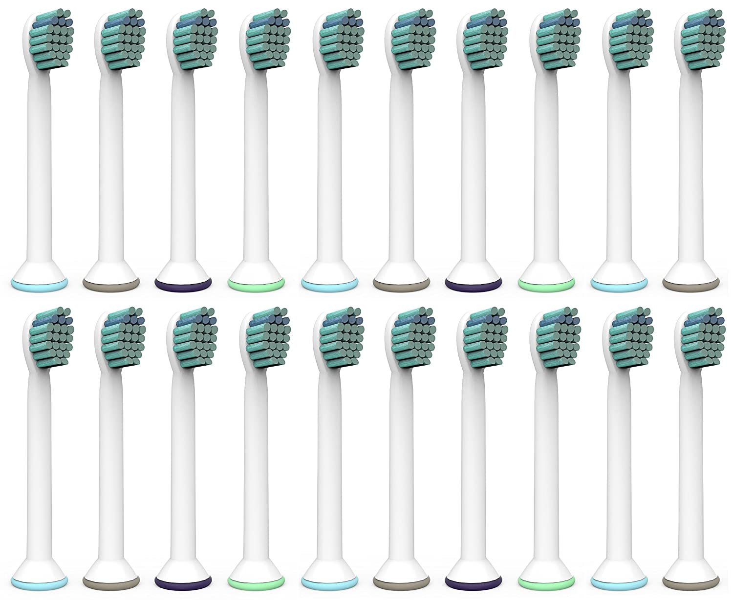 Oliver James Compact Replacement Toothbrush Heads 20 Pack Compatible with Philips Sonicare ProResults DiamondClean EasyClean FlexCare HealthyWhite HydroClean Power Up Plaque Control Plaque Defence Gum Care