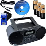 Sony Bluetooth & NFC (Near Field Communications) MP3 CD/CD-RW MEGA BASS Stereo Boombox with AM/FM Radio & USB Playback + 6 Batteries + Xtech Cleaner + Auxiliary Cable & HeroFiber Cleaning Cloth